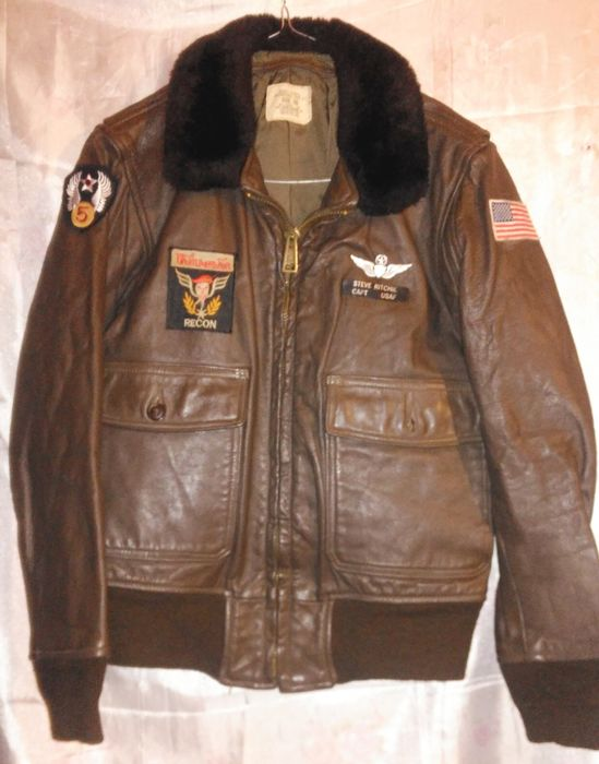 US Air Forces VIETNAM period pilot leather flying jacket G1 navy type ... e801a9c8979