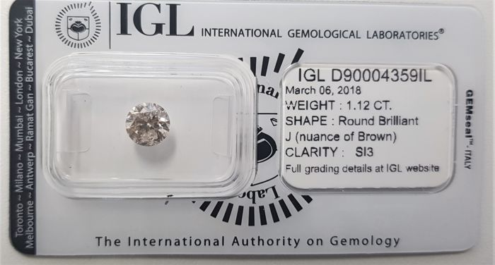1.12 ct - Natural White Diamond - J (Nuance of Brown) Color - SI3 - VG/VG/VG - No Reserve!