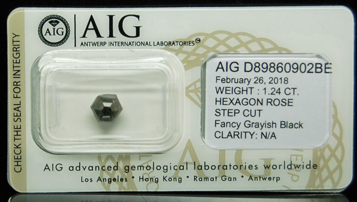 1.24ct. Certified Natural Fancy Grayish Black Diamond - NO RESERVE