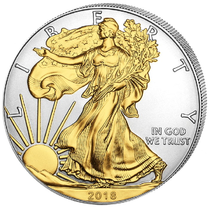 United States – 1 Dollar 2018 'Eagle' gold-plated – 1 oz silver