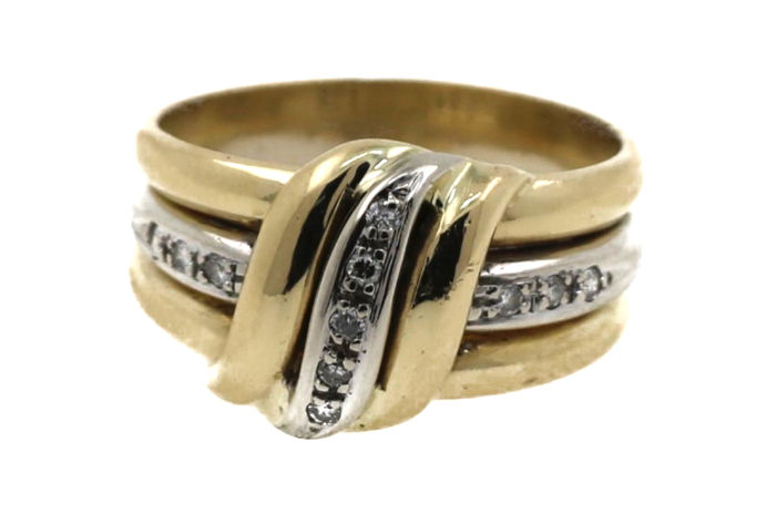 18 kt yellow and white gold ladies' ring with a total of 0.12 ct diamonds - ring size: 58 mm - free size adjustment