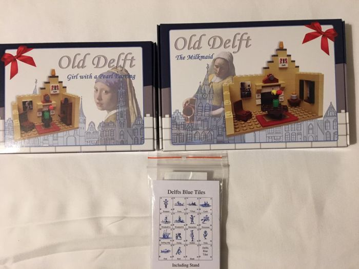 Custom - delft blue tiles + Girl with a pearl earring + The milkmaid (by Johannes Vermeer)