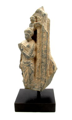Ancient Gandhara Stone Statue of Female Buddha on Display Stand - 160x83x45mm