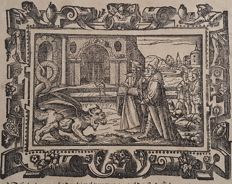 Jost Amman (1539 – 1591)  - Dragon Creature in Biblical scene