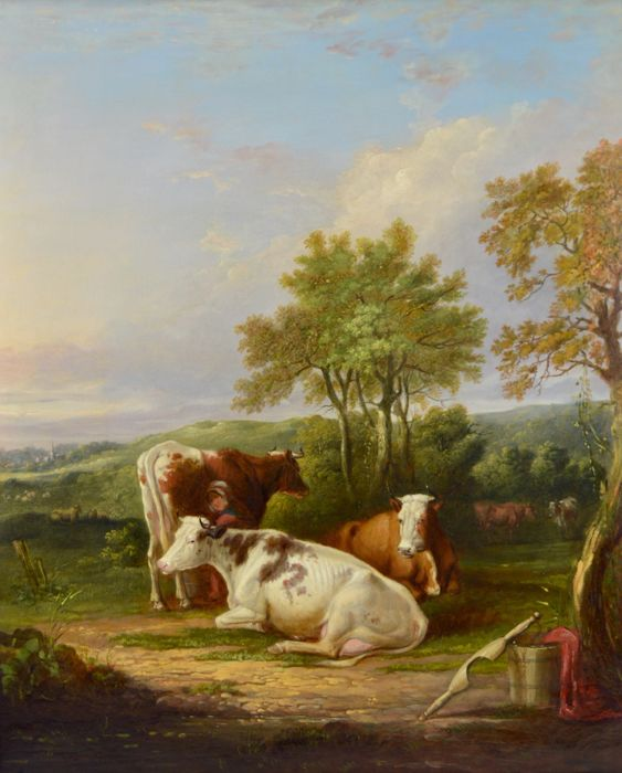 Herbert Clayton Desvignes (1831-1863) - A milkmaid and cattle in a landscape