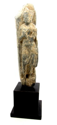 Ancient Gandhara Stone Statue of Buddha on Custom Display Stand - 198x45x35mm