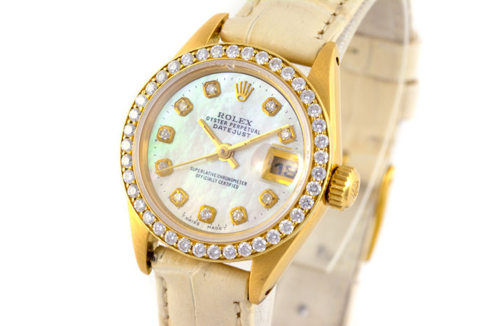 Rolex - Lady Date Just Yellow Gold - 18K With Diamonds - Kobieta - 1980-1989