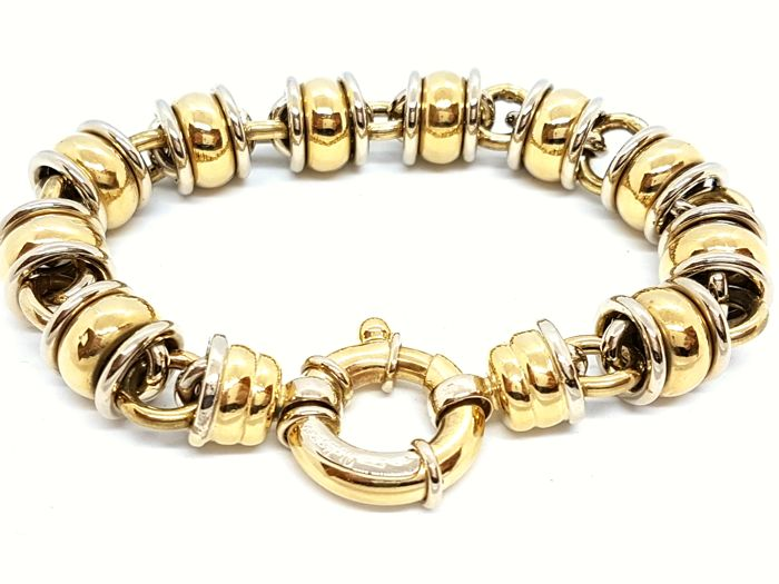 Bracelet - Two-tone - Yellow and white 18 kt gold - 20 cm