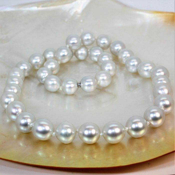 Magnificent Southsea choker Ø 10x10,9mm - cultured pearls round - WG18K invisible clasp