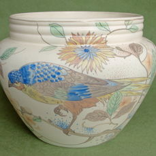 W.P. Hartgring for Plateelbakkerij Zuid Holland - large earthenware cachepot decorated with a bird
