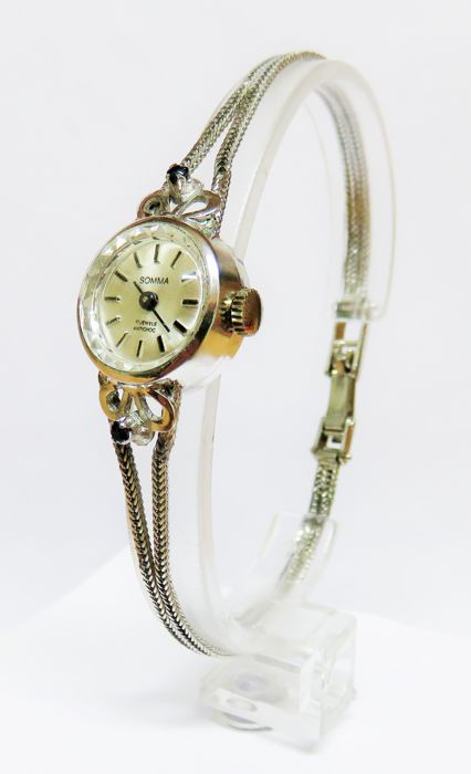 835 silver SOMMA women's watch with 835 silver strap with 2 genuine sapphires, weighing 0.10 ct in total