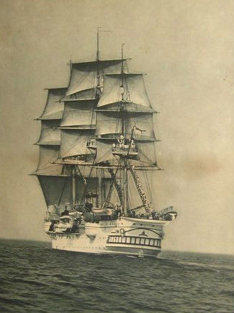 "A large vintage photography of S.M.S.. "" Charlotte"", the last sailing ship of the Imperial German Navy - circa 1909"