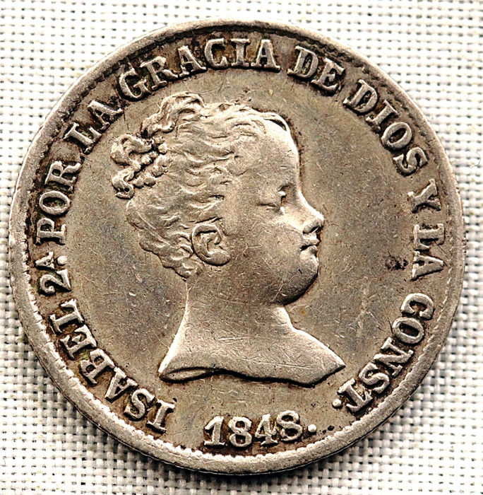 Spain - Isabel II - 1 real, silver - 1848 - Madrid - Scarce