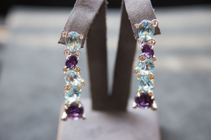 """""""Calla"""" style 18 kt white gold earrings, with azure oval cut topazes, oval cut amethysts and diamonds - by ITITOLI"""