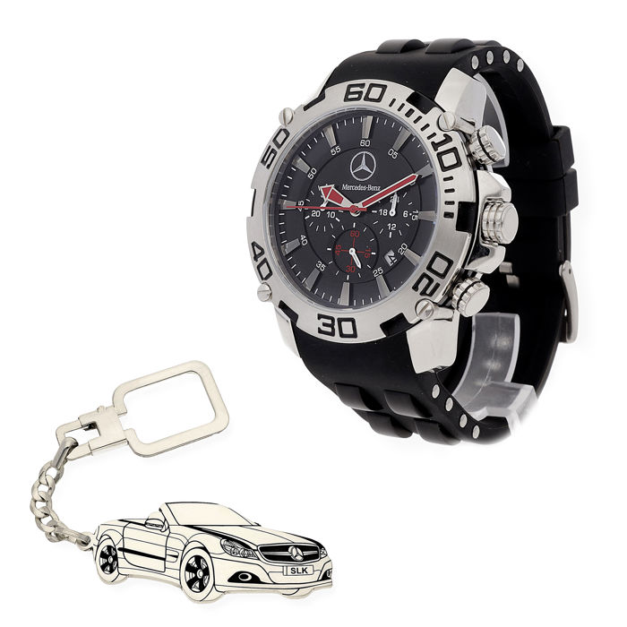 S&S men's watch for Mercedes + Sterling silver key ring with a reproduction of the SLK model