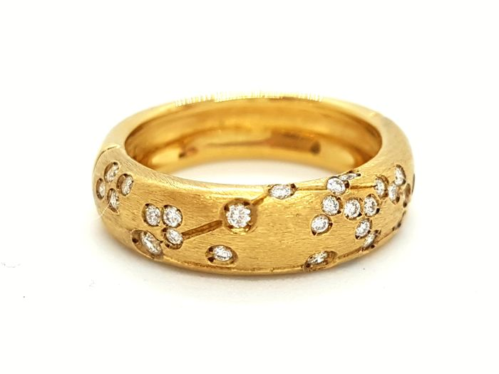 Repossi - Astrale Ring - 18 kt Yellow Gold - Diamonds 0.26 ct - Size 53 - New