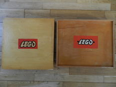 2 Vintage wooden Lego boxes including content