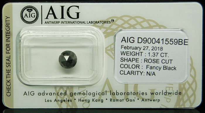 1.37ct. Certified Natural Fancy Black Diamond - NO RESERVE