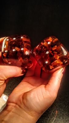 Hand made Huge Composite Dices made of resin and Baltic amber, 2 pieces - 6 x 6 cm diameter