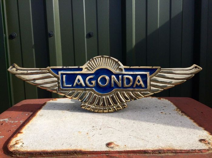 Large Cast Brass Advertising Sign For Lagonda Cars - Automobilia