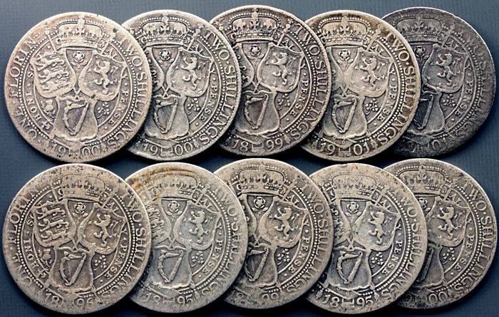 United Kingdom - Florin (Two Shillings) 1895/1901 (10 pieces) Victoria - silver