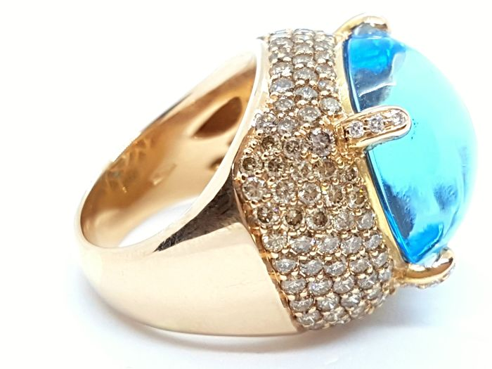 Ring - 18 kt rose gold - blue topaz 22.44 ct - diamonds 1.50 ct - size 53