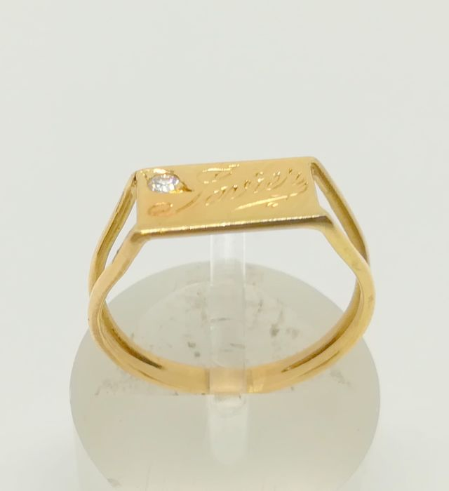 Cocktail ring in 18 kt yellow gold - diamond - for a boy or girl - inner size: 14.5 mm