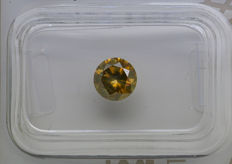 0.91 ct - Natural Fancy Diamond - Grayish Greenish Yellow - SI2 * NO RESERVE *