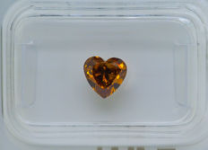 1.00 ct - Natural Fancy Diamond - VIVID Yellow Orange I1 * NO RESERVE *