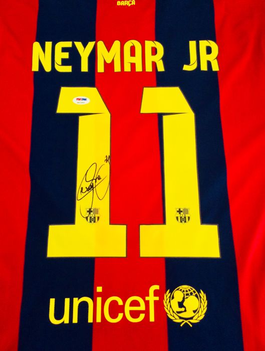 Neymar #11 / FC Barcelona - Authentic & Original Signed Autograph in a Home Jersey - with Certificate of Authenticity PSA/DNA Witnessed
