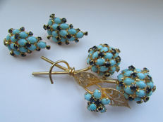 Rare Vintage Vendome Large Blue Sapphire & Turquoise Flower Brooch Earring Set