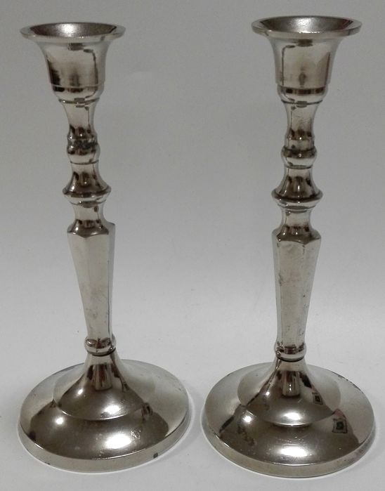Pair of silver plated table candle stands