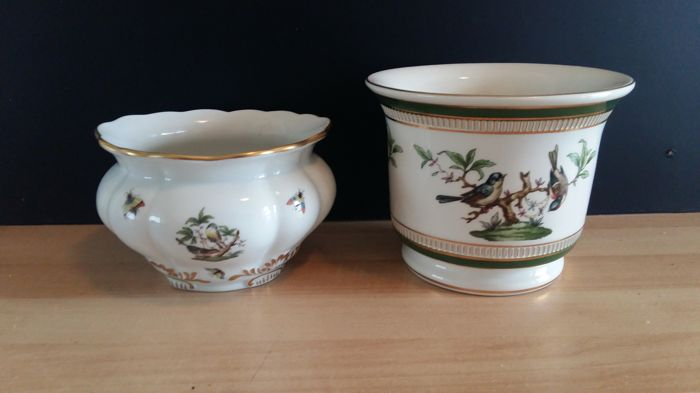 Two cache pots: Herend Rothschild bird porcelain cachepot and a Fiorentine porcellane bird cache pot