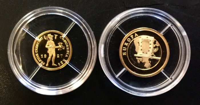 The Netherlands and Europe - 1.3 grams replica coin ducat 1927 + European Flag - 2 pieces - gold