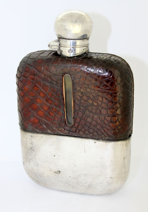 Antique Victorian silver plate and leather hip flask, by James Dixon & Sons, Circa. 1879-1890
