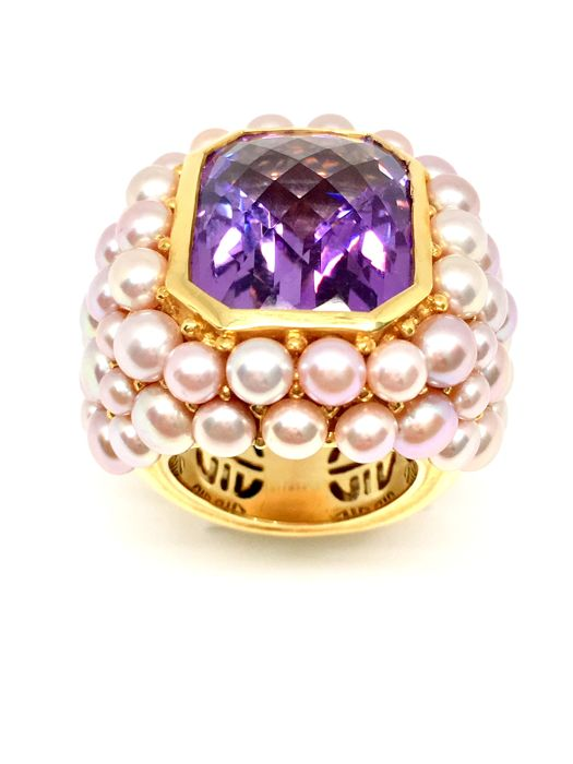 Mimì Milano ring with amethyst and pearls