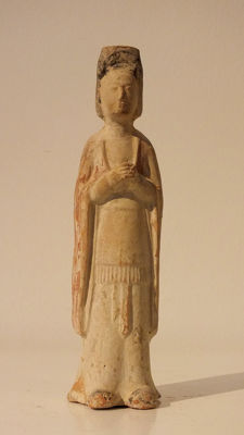 A Painted Red Pottery Court Official, Northern Wei Dynasty, H. 21 cm.