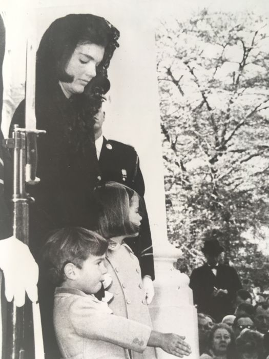 Unknown/ AP Wirephoto - 'A final wave', Jackie Kennedy and children, Washington DC, 1963