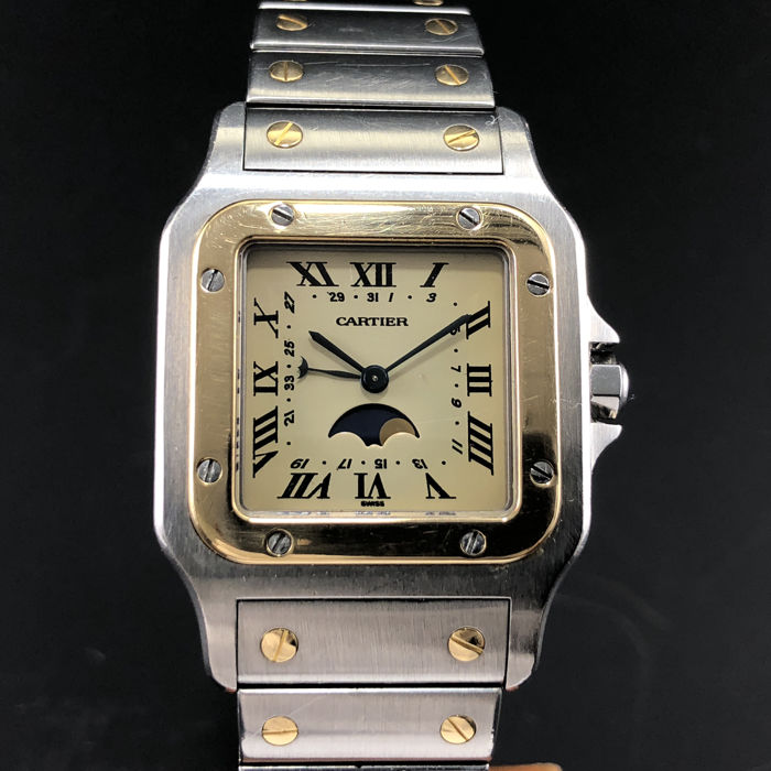 Cartier - Santos Moonphase Cream Dial - Ref. 119901 - Homme - 1990-1999