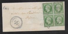 France 1859 - Napoleon Empire 5c issued rate in block of four on cover