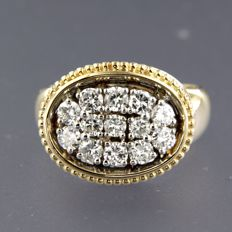 14k bicolour gold ring set with 13 brilliant cut diamonds, approx. 0.98 ct in total