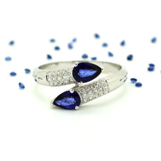 Yellow gold ring (18 kt) with Sapphire and Diamonds totalling 1.00 ct - NO RESERVE