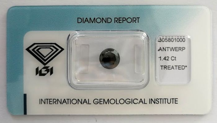 Natural Black Diamond 1.42 CT with IGI certificate***No minimum price***