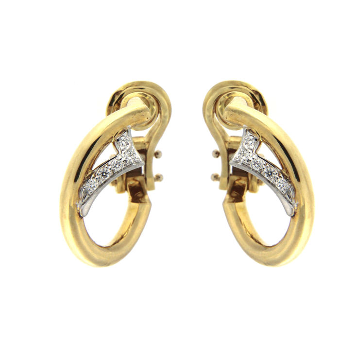 Earrings in 18 kt yellow and white gold and diamonds