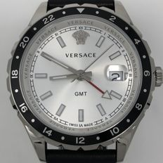 Versace - Hellenyium GMT 42 MM Silver Dial Leather Strap - V11070017 - Herre - NEW