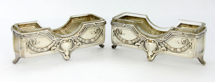 Pair of vintage silver plate & glass butter / bonbon dishes, circa.1960's. possibly by WMF