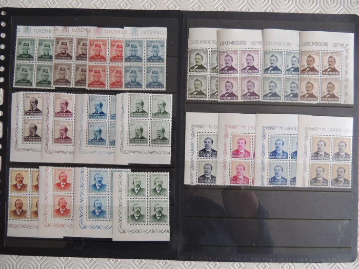 Luxembourg 1946/1950 - Issue to the benefit of social organisations - Yvert 388/442 in blocks of 4
