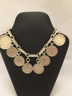 835 silver 'Close for Ever' charm bracelet with 9 antique coins - 1928-1944