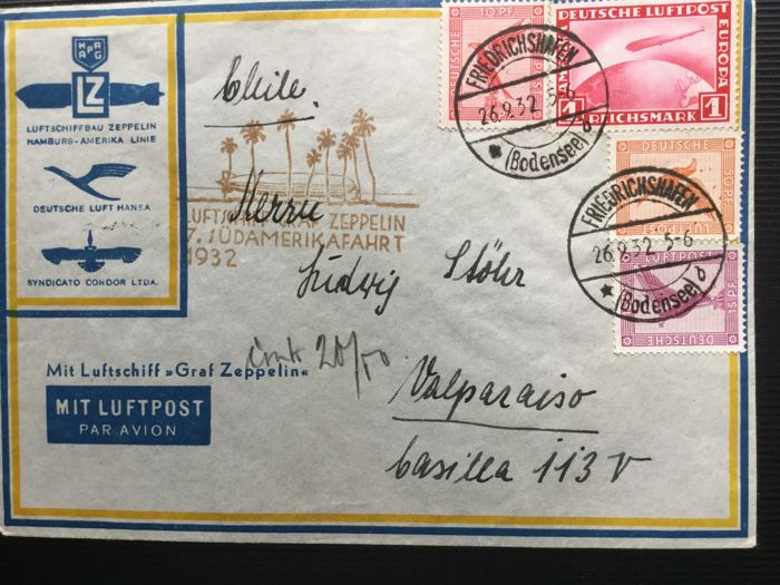 German Reich 1932 Zeppelin letter - 7th South America voyage - Catawiki