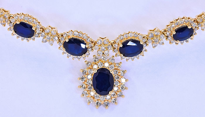 13.25 Ct Blue Sapphires and Diamonds, rosettes necklace ***NO RESERVE price!***